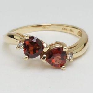 14K Yellow Gold Garnet Diamond Ring Bypass Setting